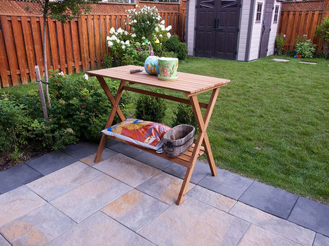 Simple Potting Bench with tools in the garden