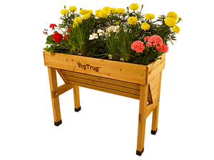 Small VegTrug Wall Hugger Planter Natural Color with plants