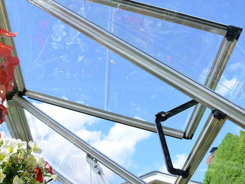 Image of Palram 8ft x 8ft Snap & Grow Hobby Greenhouse - HG8008 - open roof vent - view from the inside