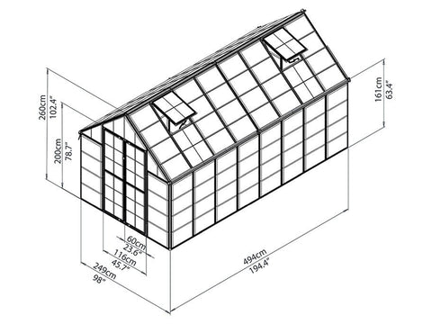 Image of Palram 8ft x 16ft Snap & Grow Hobby Greenhouse - HG8016 - framework with dimensions