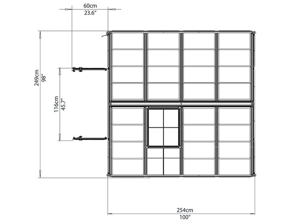 Palram 8ft x 8ft Snap & Grow Hobby Greenhouse - HG8008 - top view - framework
