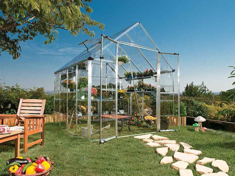 Palram 8ft x 8ft Snap & Grow Hobby Greenhouse - HG8008 - full view - in a garden