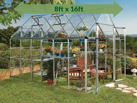 Palram 8ft x 16ft Snap & Grow Hobby Greenhouse - HG8016 - full view - with arrow on top - in a garden background