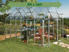 Image of Palram 8ft x 16ft Snap & Grow Hobby Greenhouse - HG8016 - full view - with arrow on top - in a garden background