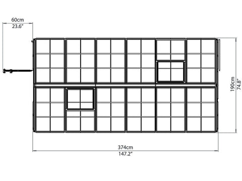 Image of Framework of the Palram 6ft x 12ft Snap & Grow Hobby Greenhouse in white background for Palram Hobby Greehouse