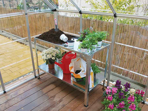 Steel Work Bench HG2001 - inside a greenhouse - with plants and tools