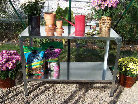 Steel Work Bench - with plants and accessories
