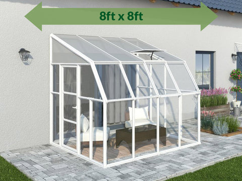Image of Rion 8ft x 8ft Sun Room 2 Greenhouse - HG7608 - by the wall - green arrow on top - full view