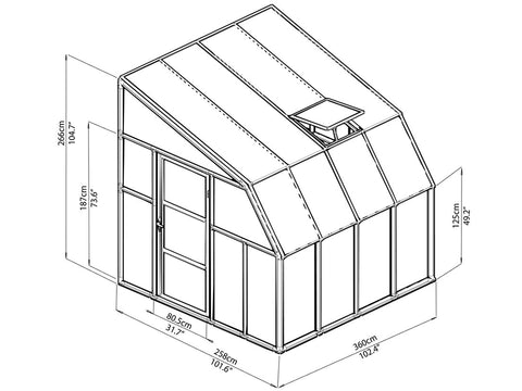 Image of Rion 8ft x 8ft Sun Room 2 Greenhouse - HG7608 - full view of framework with dimensions