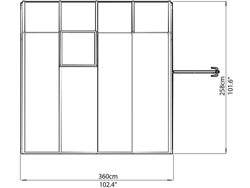 Rion 8ft x 8ft Sun Room 2 Greenhouse - HG7608 - top view of framework with dimensions