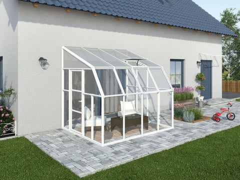 Image of Rion 8ft x 8ft Sun Room 2 Greenhouse - HG7608 - by the wall - full view