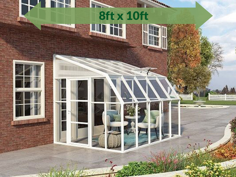 Rion 8ft x 10ft Sun Room 2 Greenhouse - HG7610 - full view - by the wall - green arrow on top