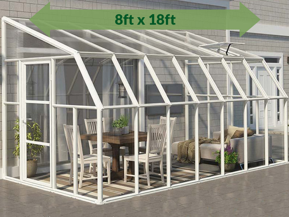 Rion 8ft x 18ft Sun Room 2 Greenhouse - HG7618 - full view - by the wall - green arrow on top