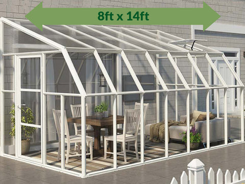 Rion 8ft x 14ft Sun Room 2 Greenhouse - HG7614 - full view - by the wall - green arrow on top
