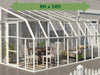 Image of Rion 8ft x 14ft Sun Room 2 Greenhouse - HG7614 - full view - by the wall - green arrow on top