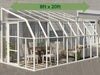 Image of Rion 8ft x 20ft Sun Room 2 Greenhouse - HG7620 - full view - green arrow - by the wall