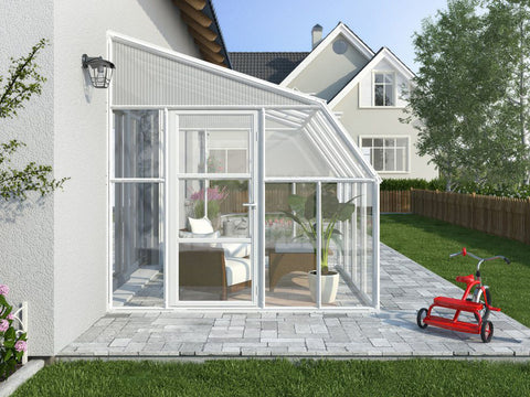 Image of Rion 8ft x 16ft Sun Room 2 Greenhouse - HG7616 - side view - by the wall
