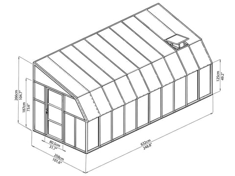 Rion 8ft x 20ft Sun Room 2 Greenhouse - HG7620 - full view of framework with dimensions