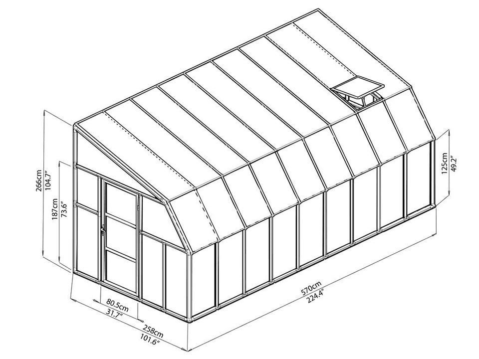 Rion 8ft x 18ft Sun Room 2 Greenhouse - HG7618 - full view of framework with dimensions
