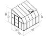 Image of Rion 8ft x 10ft Sun Room 2 Greenhouse - HG7610 - full view of framework with dimensions