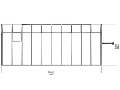 Rion 8ft x 20ft Sun Room 2 Greenhouse - HG7620 - top view of framework with dimensions