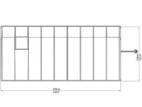 Rion 8ft x 18ft Sun Room 2 Greenhouse - HG7618 - top view of framework with dimensions