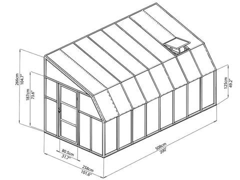 Rion 8ft x 16ft Sun Room 2 Greenhouse - HG7616 - full view of framework with dimensions