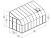 Image of Rion 8ft x 16ft Sun Room 2 Greenhouse - HG7616 - full view of framework with dimensions