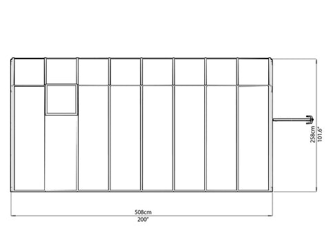 Rion 8ft x 16ft Sun Room 2 Greenhouse - HG7616 - top view of framework with dimensions
