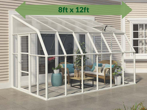 Rion 8ft x 12ft Sun Room 2 Greenhouse - HG7612 - full view - by the wall - green arrow on top