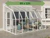 Image of Rion 8ft x 12ft Sun Room 2 Greenhouse - HG7612 - full view - by the wall - green arrow on top