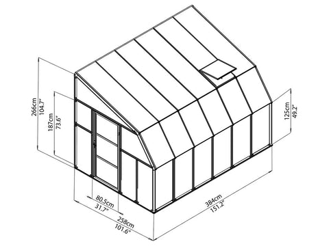 Image of Rion 8ft x 12ft Sun Room 2 Greenhouse - HG7612 - full view of framework with dimensions