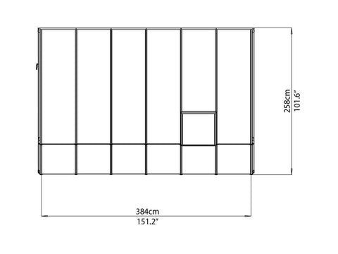 Rion 8ft x 12ft Sun Room 2 Greenhouse - HG7612 - top view of framework with dimensions