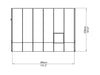 Image of Rion 8ft x 12ft Sun Room 2 Greenhouse - HG7612 - top view of framework with dimensions