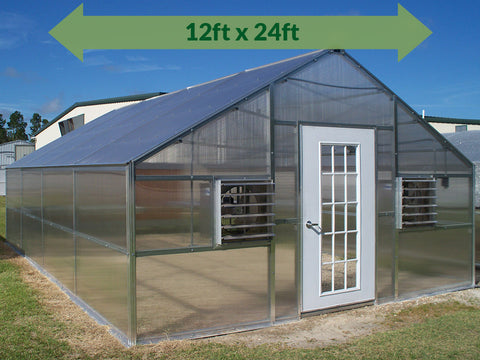 Riverstone Industries (RSI) 12ft x 24ft Thoreau Premium Educational Greenhouse  R12246-P(G) - full view - green arrow on top showing dimensions