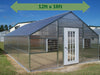 Image of Riverstone Industries (RSI) 12ft x 18ft Thoreau Premium Educational Greenhouse  R12186-P(G) - full view - green arrow on top with dimensions