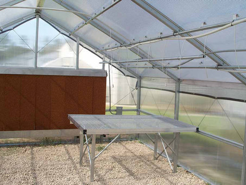 Riverstone Industries (RSI) 12ft x 24ft Thoreau Premium Educational Greenhouse  R12246-P(G) - commercial workbench inside the greenhouse