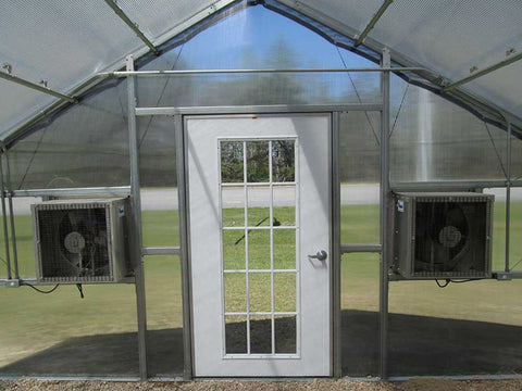 Riverstone Industries (RSI) 12ft x 18ft Whitney Premium Educational Greenhouse  R12188-P(G) - front view from the inside
