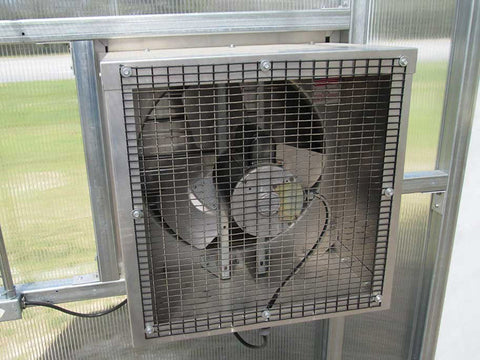 Image of Riverstone Industries (RSI) 12ft x 24ft Whitney Premium Educational Greenhouse  R12248-P(G) - exhaust fan