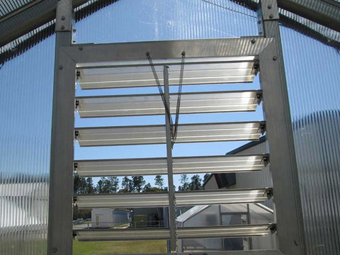 Image of Riverstone Industries (RSI) 12ft x 24ft Whitney Premium Educational Greenhouse  R12248-P(G) - open louver window