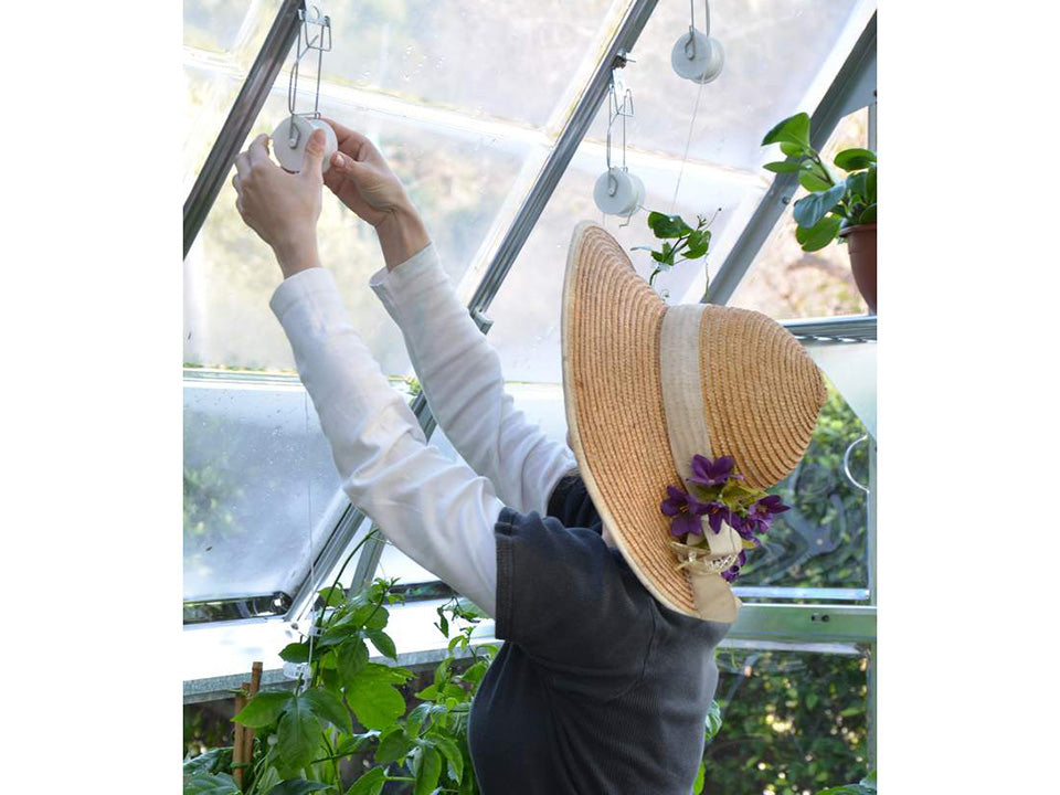 Trellising Kit Pro for the Palram and Rion Greenhouses -  a woman arranging the trellis