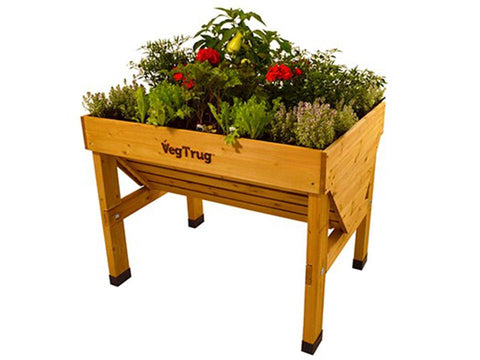 Image of Small Natural Wood Color VegTrug with plants