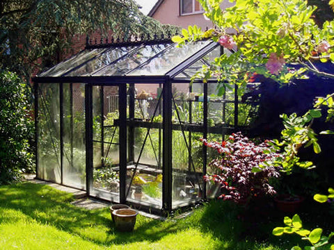 Side view with door on the long side - Janssens Royal Victorian VI 23 Greenhouse 8ft x 10ft