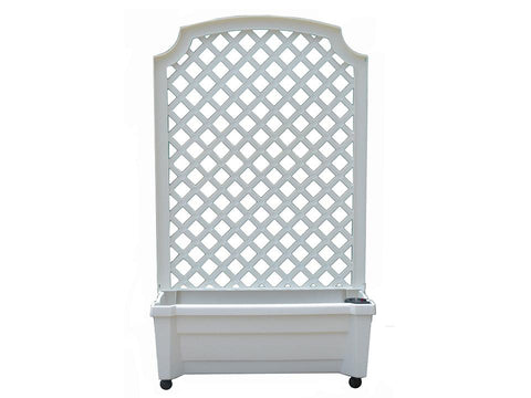 Calypso Planter with Trellis and Reservoir - White