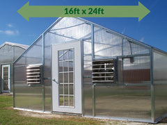 Riverstone Industries (RSI) 16ft x 24ft Wallace Premium Edition Educational Greenhouse R16248-P(G) - full view - green arrow on top showing dimensions