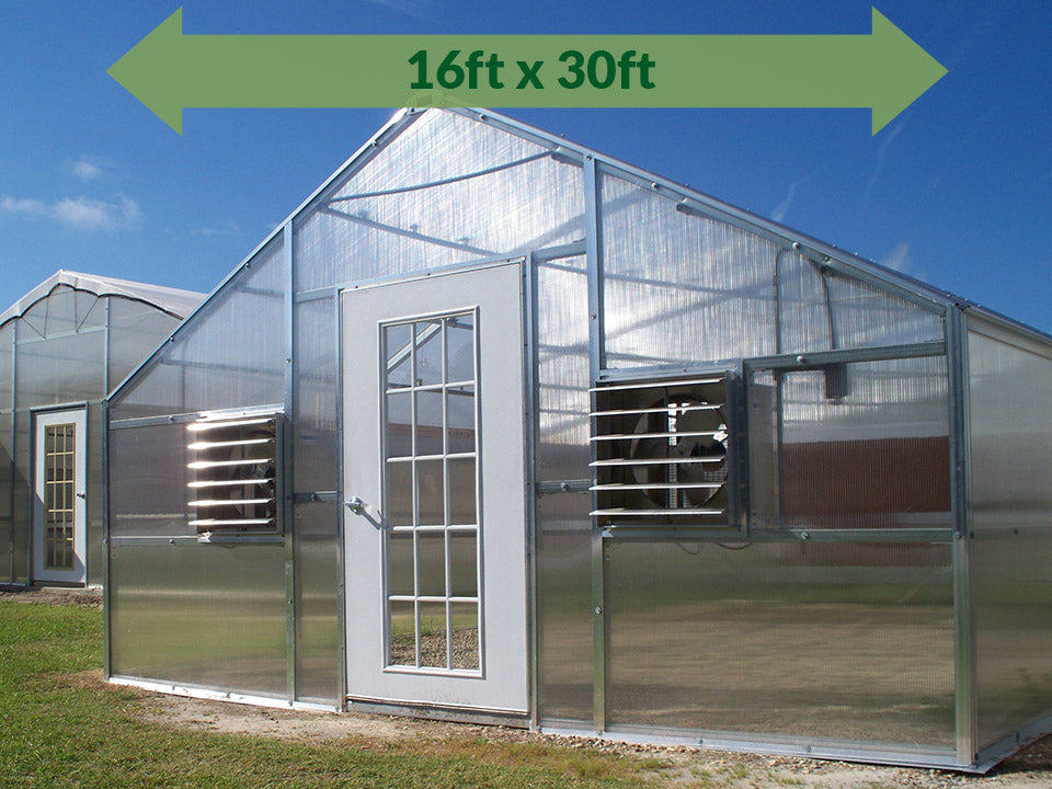 Riverstone Industries (RSI) 16ft x 30ft Wallace Premium Edition Educational Greenhouse R16308-P(G) - full view - green arrow on top showing dimensions