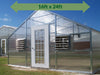 Image of Riverstone Industries (RSI) 16ft x 24ft Wallace Premium Edition Educational Greenhouse R16248-P(G) - full view - green arrow on top showing dimensions