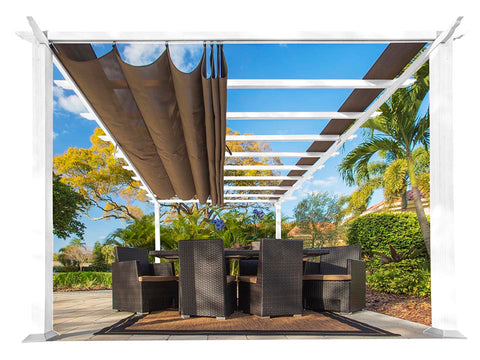 Florence White Aluminum Pergola with a Cocoa Color Canopy