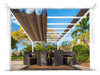 Image of Florence White Aluminum Pergola with a Cocoa Color Canopy