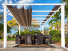 Image of Florence White Aluminum Pergola with a Sand Color Convertible  Canopy Top